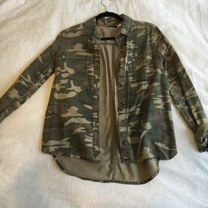 BDG Women's Camo Button Up Shirt